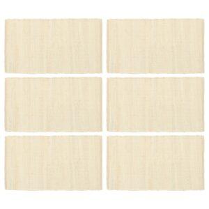 Individual de mesa 6 pcs chindi algodão liso 30x45 cm creme - PORTES GRÁTIS
