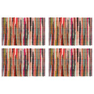 Individual de mesa 4 pcs chindi algodão liso 30x45 cm multicor - PORTES GRÁTIS