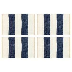 Individual de mesa 4 pcs chindi riscas 30x45 cm azul e branco - PORTES GRÁTIS