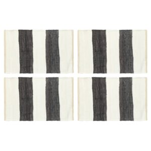 Individual mesa 4 pcs chindi riscas 30x45 cm antracite e branco - PORTES GRÁTIS