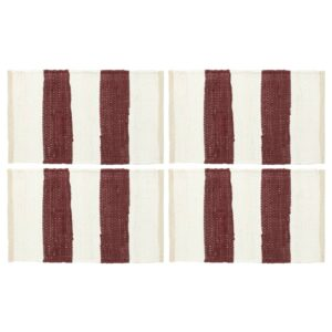 Individual de mesa 4 pcs chindi riscas 30x45 cm bordô e branco - PORTES GRÁTIS