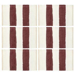 Individual de mesa 6 pcs chindi riscas 30x45 cm bordô e branco - PORTES GRÁTIS