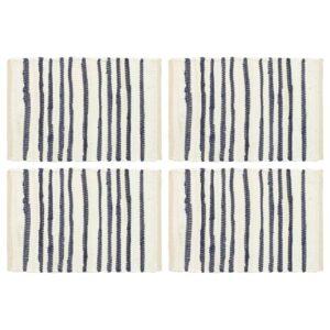 Individual de mesa 4 pcs algodão 30x45 cm azul e branco - PORTES GRÁTIS