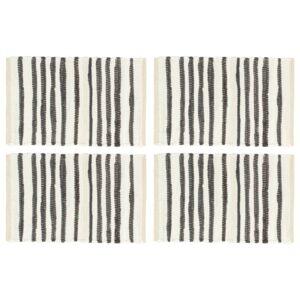 Individual de mesa 4 pcs algodão 30x45 cm antracite e branco - PORTES GRÁTIS