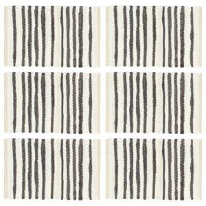 Individual de mesa 6 pcs algodão 30x45 cm antracite e branco - PORTES GRÁTIS