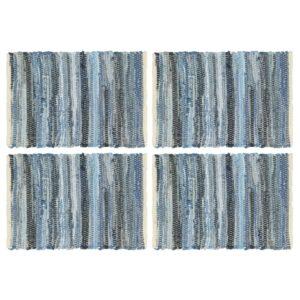 Individual de mesa 4 pcs chindi denim algodão 30x45 cm azul - PORTES GRÁTIS