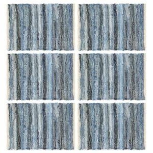 Individual de mesa 6 pcs chindi denim algodão 30x45 cm azul - PORTES GRÁTIS