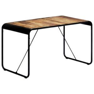 Mesa de jantar 140x70x76 cm madeira de mangueira maciça áspera - PORTES GRÁTIS