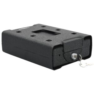 Cofre para automóveis 21,8x16x7 cm aço preto  - PORTES GRÁTIS
