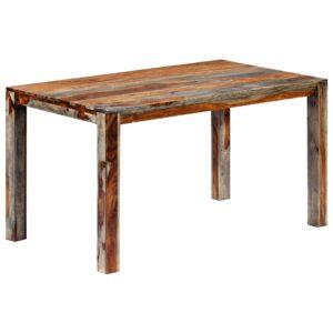 Mesa de jantar 140x70x76 cm madeira de sheesham maciça cinzento - PORTES GRÁTIS
