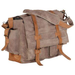 Saco de ombro 42x13x34,5 cm lona e couro genuíno castanho - PORTES GRÁTIS