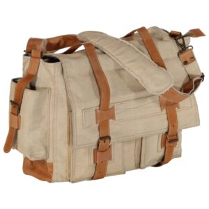 Saco de ombro 42x13x34,5 cm lona e couro genuíno bege - PORTES GRÁTIS