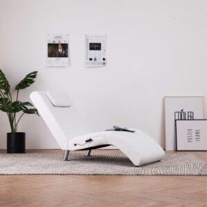 Chaise longue de massagem c/ almofada couro artificial branco - PORTES GRÁTIS