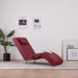 Chaise longue massagem + almofada couro artif. vermelho tinto - PORTES GRÁTIS