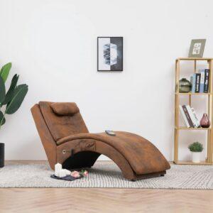 Chaise longue massagem c/ almofada camurça artificial castanho - PORTES GRÁTIS