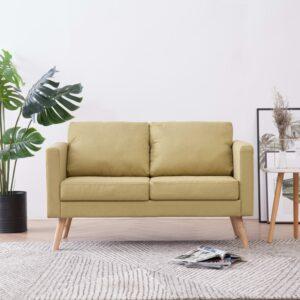 Sofá de 2 lugares em tecido verde - PORTES GRÁTIS