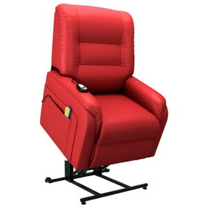 Poltrona massagens elevatória elétrica couro artific. vermelho - PORTES GRÁTIS