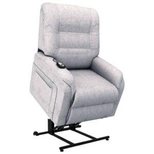 Poltrona TV reclinável/articulada elétrica tecido cinzento - PORTES GRÁTIS