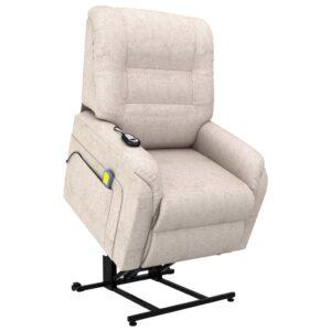 Poltrona TV reclinável/articulada elétrica tecido cor creme - PORTES GRÁTIS
