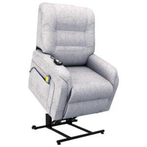 Poltrona TV reclinável/articulada elétrica tecido cinzento-claro - PORTES GRÁTIS