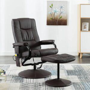 Cadeira de massagens c/ apoio de pés couro artificial castanho - PORTES GRÁTIS