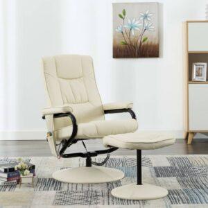 Cadeira de massagens c/ apoio de pés couro artificial creme - PORTES GRÁTIS