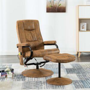 Cadeira massagens c/ apoio de pés camurça artificial castanho - PORTES GRÁTIS