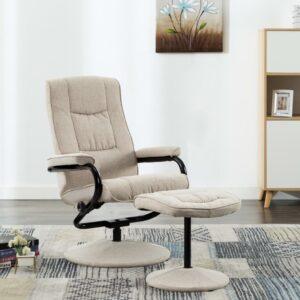 Cadeira reclinável com apoio de pés tecido creme - PORTES GRÁTIS