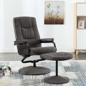 Cadeira reclinável com apoio de pés tecido cinzento-escuro - PORTES GRÁTIS