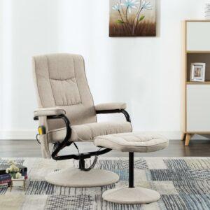 Cadeira de massagens reclinável c/ apoio pés tecido cor creme - PORTES GRÁTIS