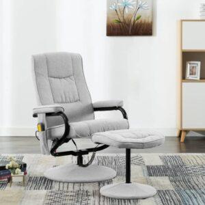 Cadeira massagens reclinável + apoio pés tecido cinzento-claro - PORTES GRÁTIS