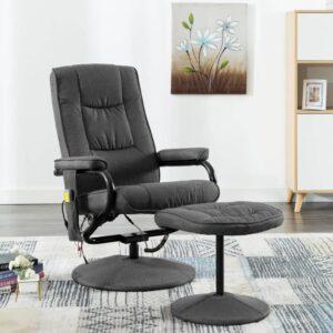 Cadeira massagens reclinável + apoio pés tecido cinzento-escuro - PORTES GRÁTIS