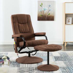 Cadeira massagens reclinável c/ apoio pés tecido castanho - PORTES GRÁTIS