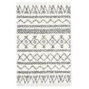 Tapete berbere shaggy PP bege e cinzento 80x150 cm - PORTES GRÁTIS