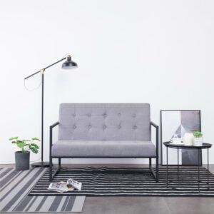 Sofá de 2 lugares c/ apoio braços aço + tecido cinzento-claro - PORTES GRÁTIS