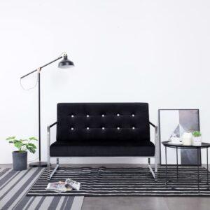 Sofá de 2 lugares com apoio de braços cromado e veludo preto - PORTES GRÁTIS