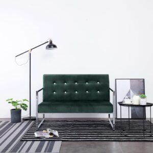 Sofá 2 lugares c/ apoio de braços cromado e veludo verde-escuro - PORTES GRÁTIS