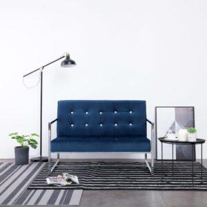 Sofá de 2 lugares com apoio de braços cromado e veludo azul - PORTES GRÁTIS