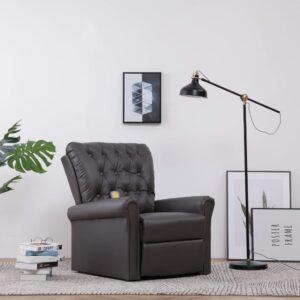 Cadeira massagens reclinável couro artificial cinzento - PORTES GRÁTIS