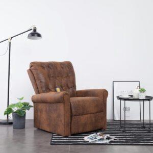 Cadeira massagens reclinável camurça artificial castanho - PORTES GRÁTIS