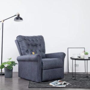 Cadeira massagens reclinável camurça artificial cinzento - PORTES GRÁTIS