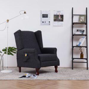 Cadeira massagens reclinável tecido cinzento-escuro - PORTES GRÁTIS