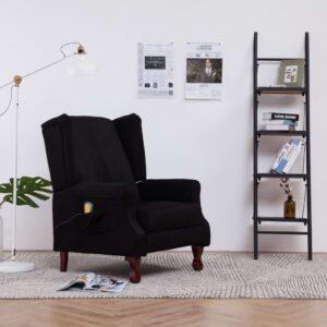 Cadeira de massagens reclinável tecido preto - PORTES GRÁTIS