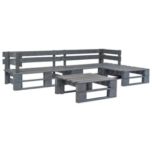 4 pcs conjunto lounge de jardim paletes madeira FSC cinzento  - PORTES GRÁTIS