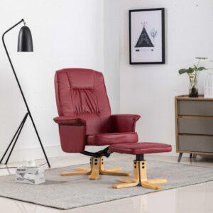 Poltrona com apoio de pés couro artificial vermelho tinto - PORTES GRÁTIS