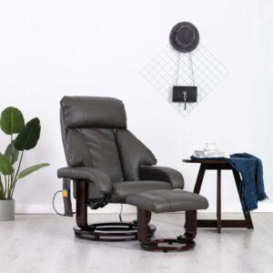 Cadeira de massagens TV reclinável couro artificial cinzento - PORTES GRÁTIS
