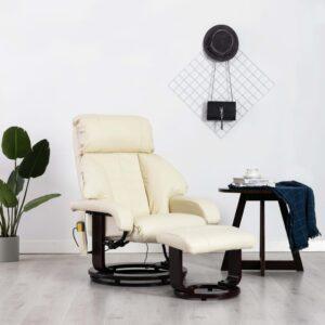 Cadeira massagens TV reclinável couro artificial branco creme - PORTES GRÁTIS