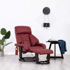 Cadeira massagens reclinável TV couro artificial vermelho tinto - PORTES GRÁTIS