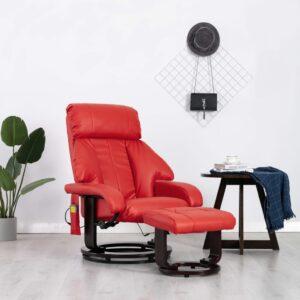 Cadeira de massagens reclinável TV couro artificial vermelho - PORTES GRÁTIS