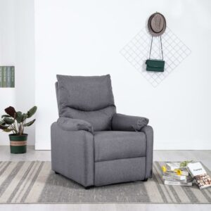 Poltrona de TV reclinável tecido cinzento-claro - PORTES GRÁTIS